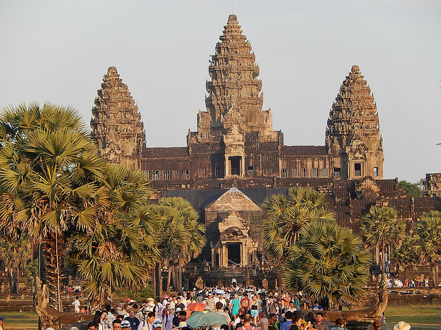 Crowds at Angkor Wat temple 2014
