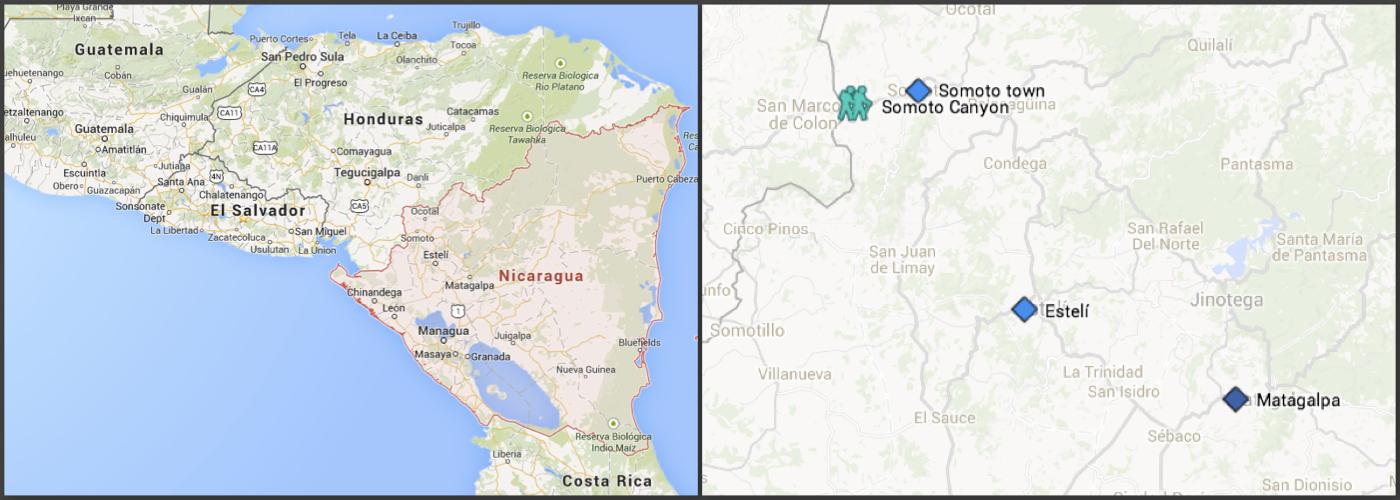 Somoto Canyon location Nicaragua