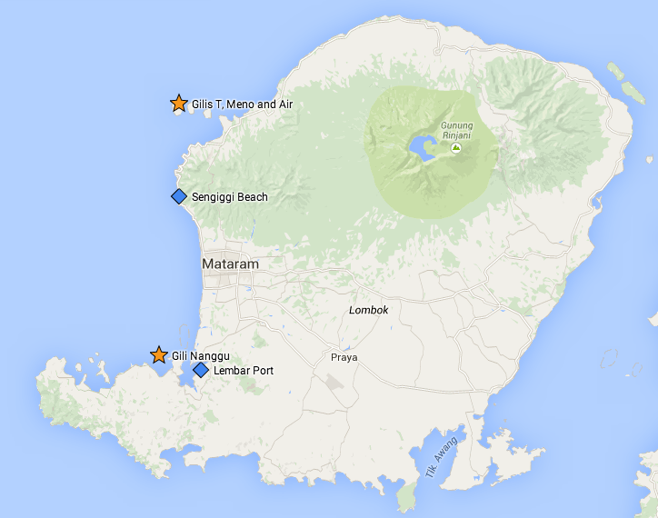 Lombok map | Gili Nanggu location