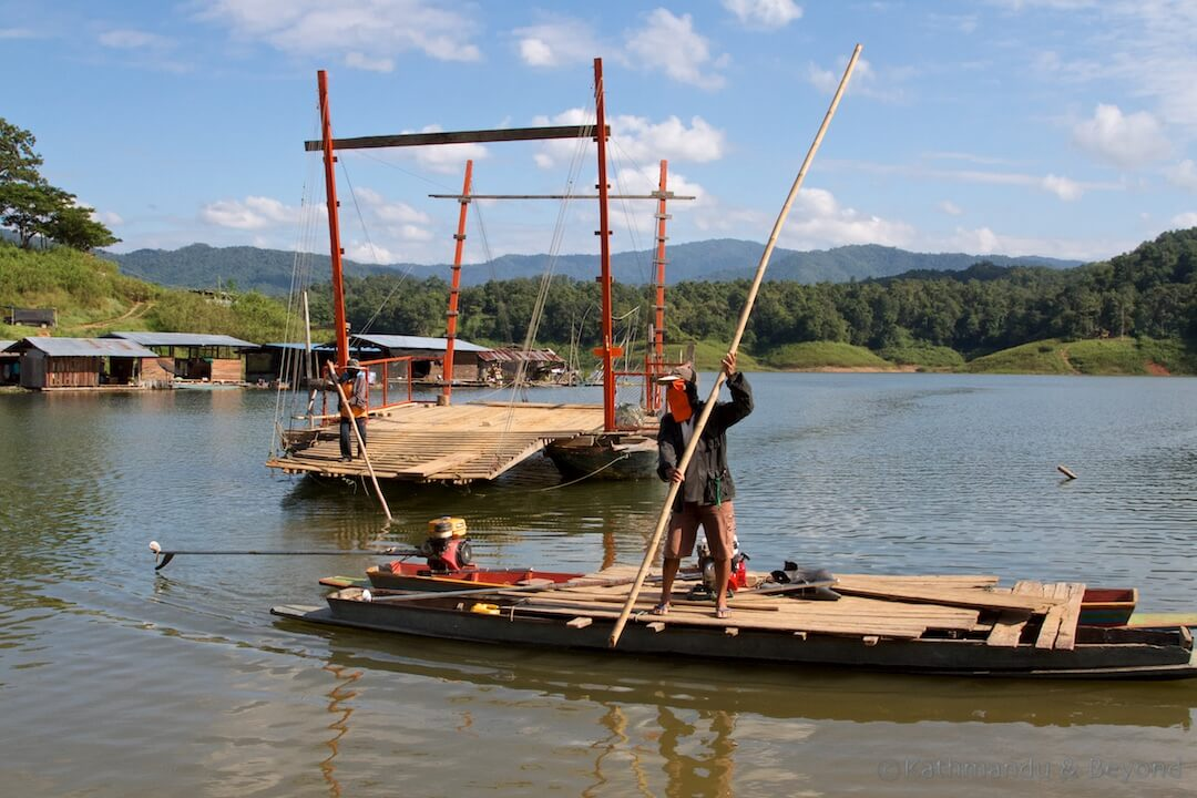 Crossing the resovoir on the Sirikit Dam at Pak Nai Thailand (1)