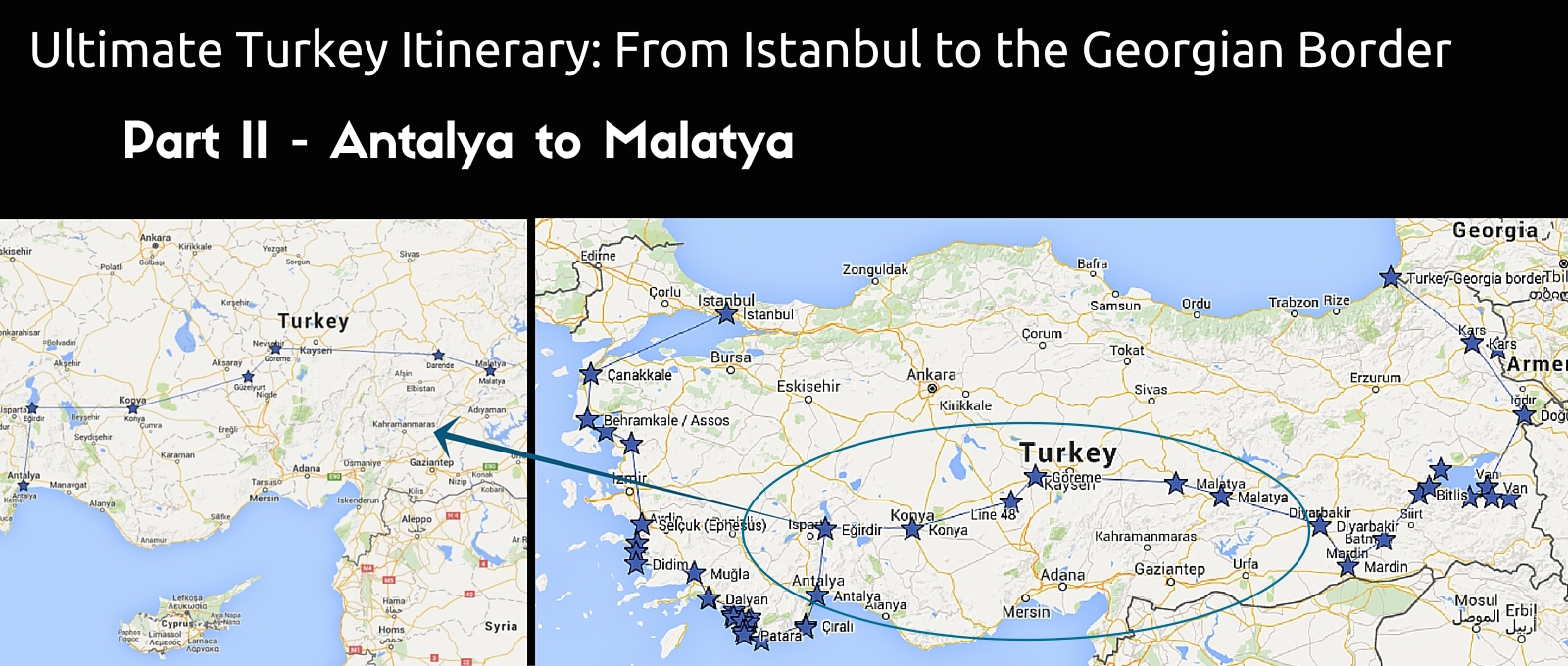 Antalaya to Malatya route | Ultimate Turkey itinerary