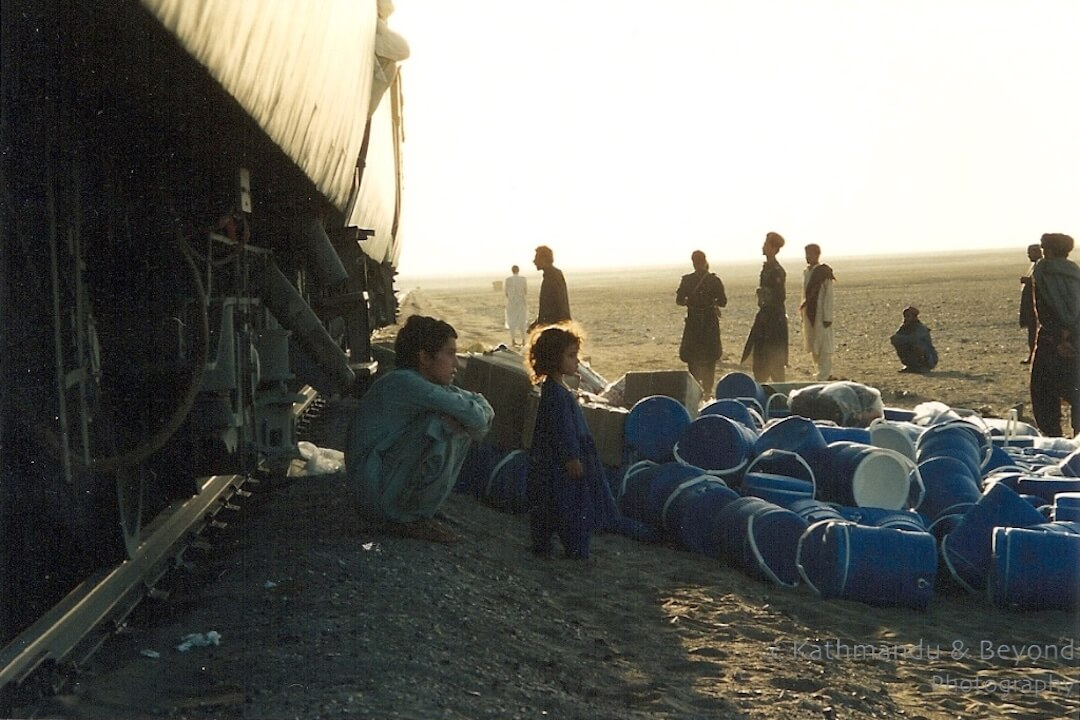 Confiscating blue water containers on the train to Quetta in Pakistan