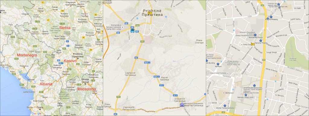 Map of Pristina Kosovo