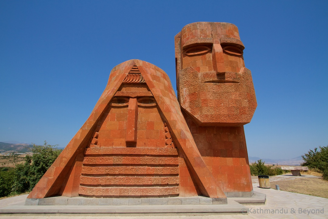 'We Are Our Mountains' ('tatik-papik' (Grandma and Grandpa)) in Stepanakert, Nagorno-Karabakh Republic | Soviet monument | former USSR