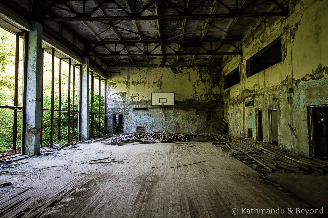 Basketball court Recreation Centre Pripyat town Chernobyl Exclusion Zone Ukraine-2