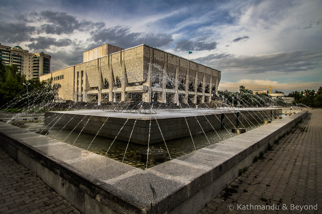 Kazakh State Academic Drama Theatre named after M.O. Auezov (Auezov Theatre) in Almaty, Kazakhstan |Brutalist | Soviet architecture | former USSR
