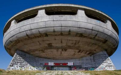 Socialist-era monuments and memorials near Buzludzha in Bulgaria