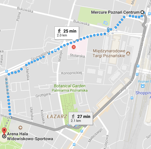 Locationa of Mercure Hotel and the Arena, Poznan