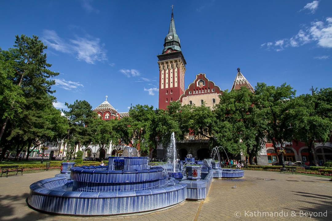 City Hall Blue Fountain park Subotica Serbia-4