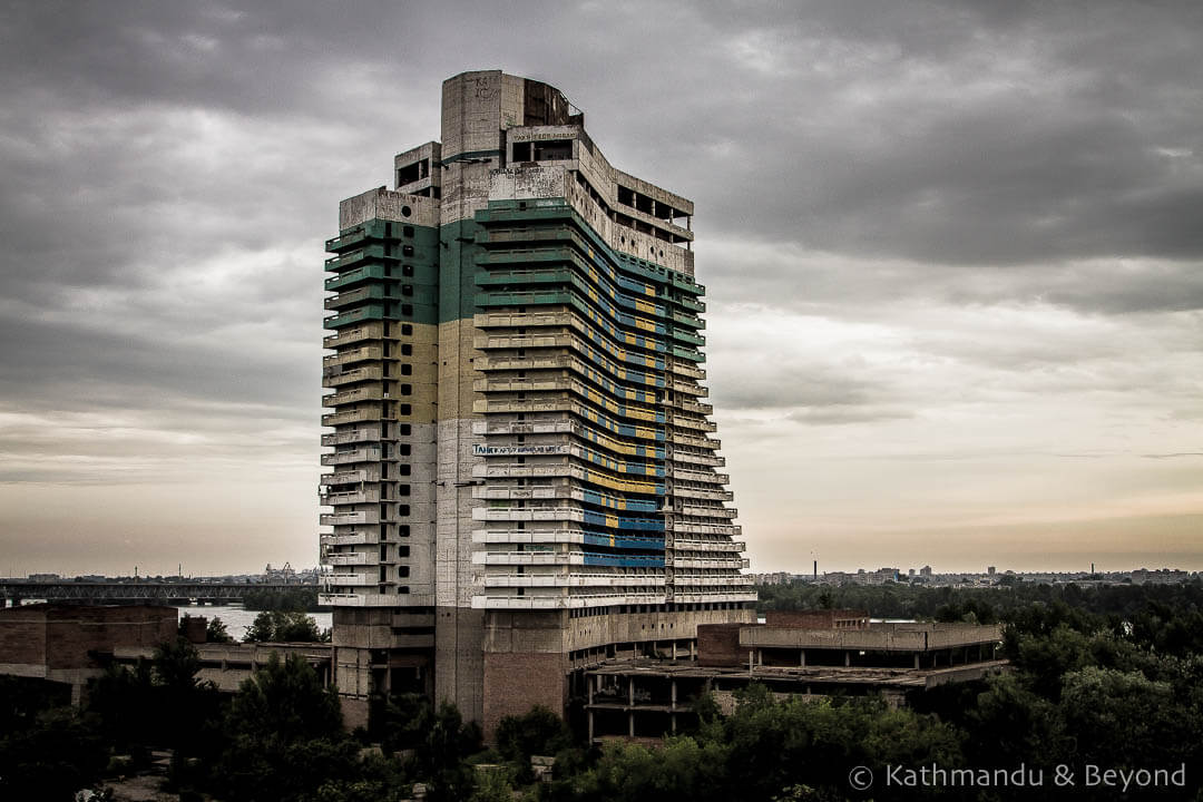 The abandoned Parus Hotel Dnipro Ukraine