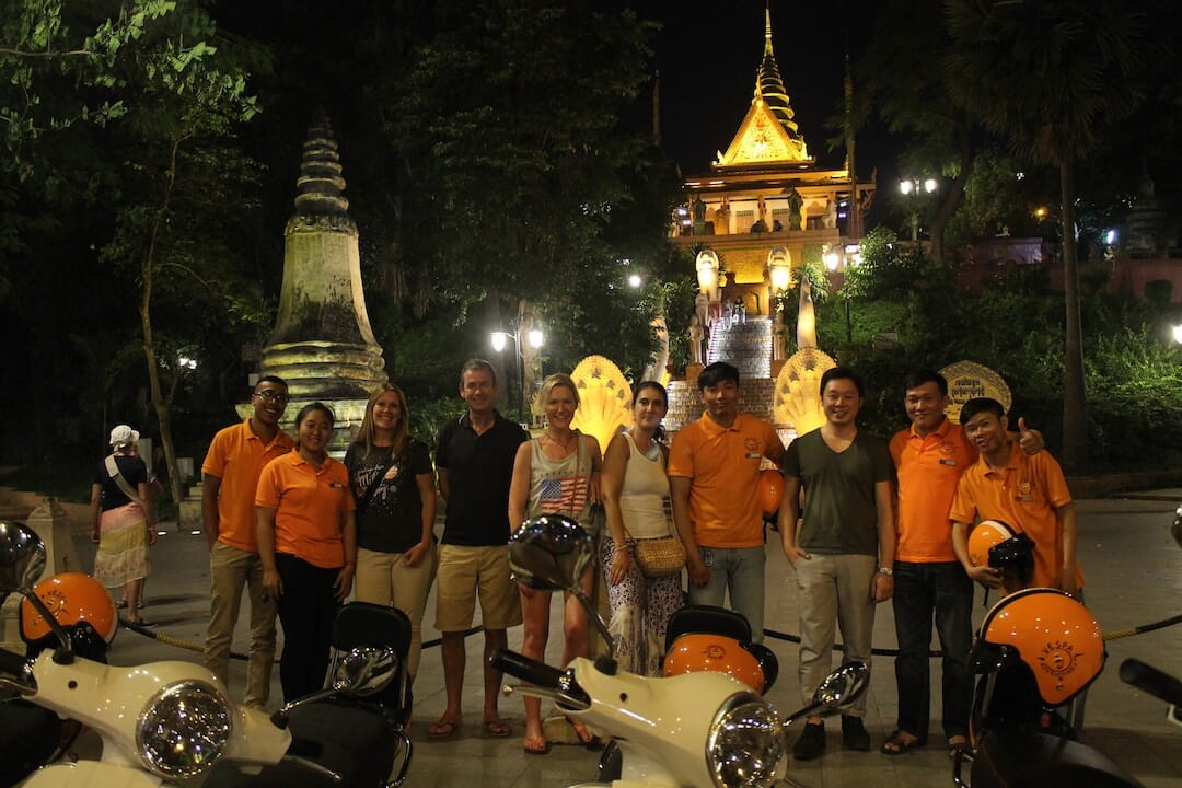 Phnom Penh Nightlife Experience with Vespa Adventures - Wat Phnom