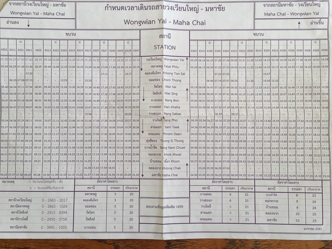 Wongwian Yai to Maha Chai (and vice versa) train schedule