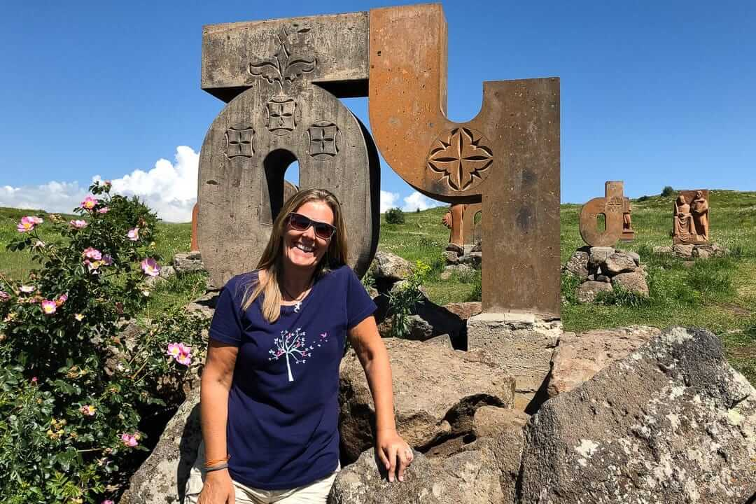 Kirsty at the Alphabet Monument, Armenia