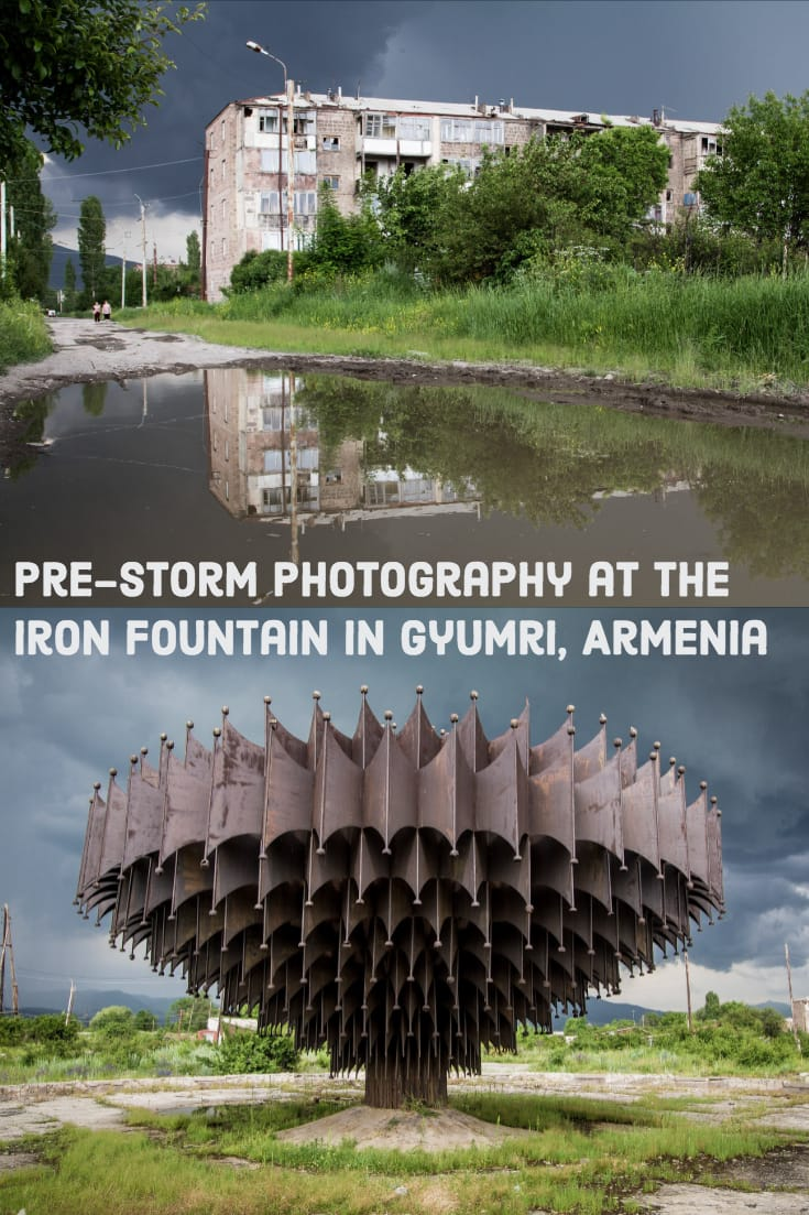 Pre-Storm Photography at the Iron Fountain in Gyumri, Armenia
