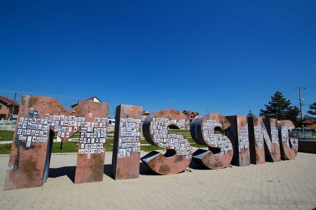 Missing monument Gracanica Kosovo