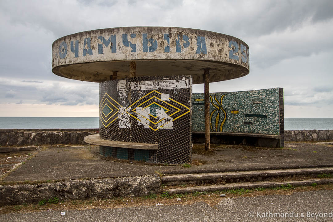 Bus Stop in Ochamchire, Abkhazia   Modernist   Soviet architecture   former USSR