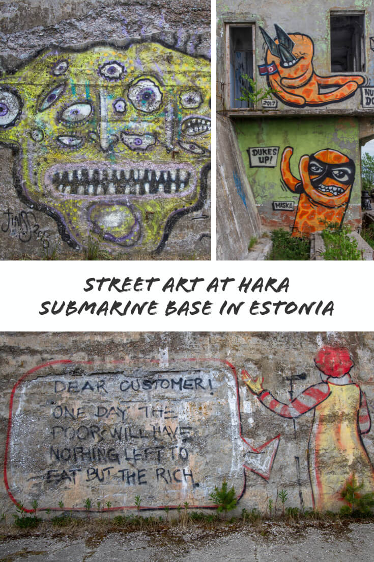 Street Art at Hara Submarine Base in #Estonia #streetart #graffiti #travel #Baltics #Europe #traveltips #URBEX #abandonedplaces #Soviet #europetravel