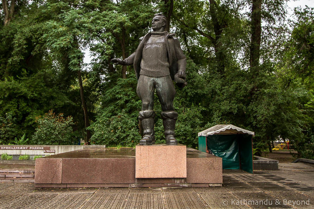 Monument to the pilot Valerii Chkalov in Dnipro, Ukraine | War memorial | Soviet monument | former USSR