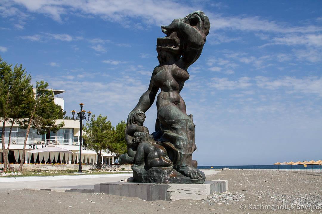 'Medeya' (Daughter of Tsar Kolkhida) in Pitsunda, Abkhazia   Soviet sculpture   former USSR