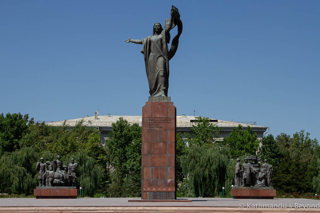 Statue to Martyrs of the Revolution (Monument to Urkuya Salieva) in Bishkek Kyrgyzstan | Soviet monument | former USSR
