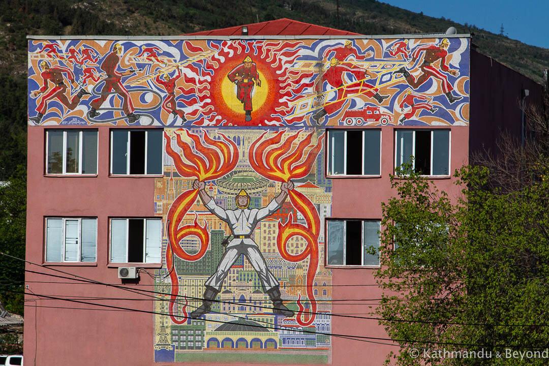 Ortachala Fire Station in Tbilisi, Georgia | Mosaic | Soviet artwork | former USSR