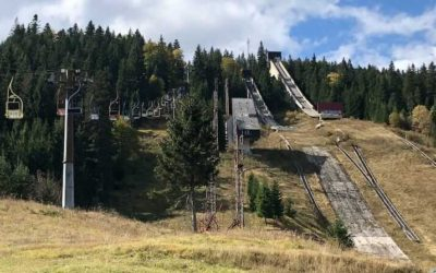 The Olympic ski jumps and former Hotel Igman in Bosnia and Herzegovina