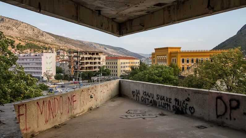 Mostar's Sniper Tower, the Former Ljubljanska Bank in Bosnia and Herzegovina