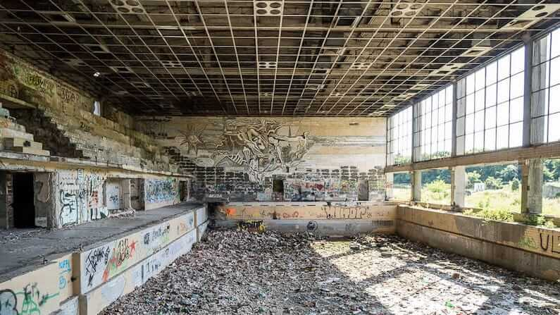 Abandoned swimming pool in Lovech, Bulgaria