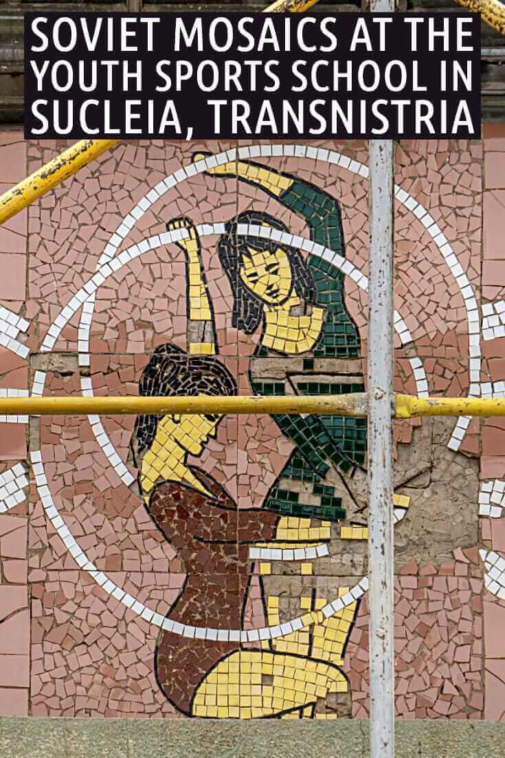 In photos - Soviet Mosaics at the Youth Sports School in Sucleia, Transnistria #travel #offthebeatenpath #moldova #europe #formerUSSR #Tiraspol #Sovietmosaics #gymnasts