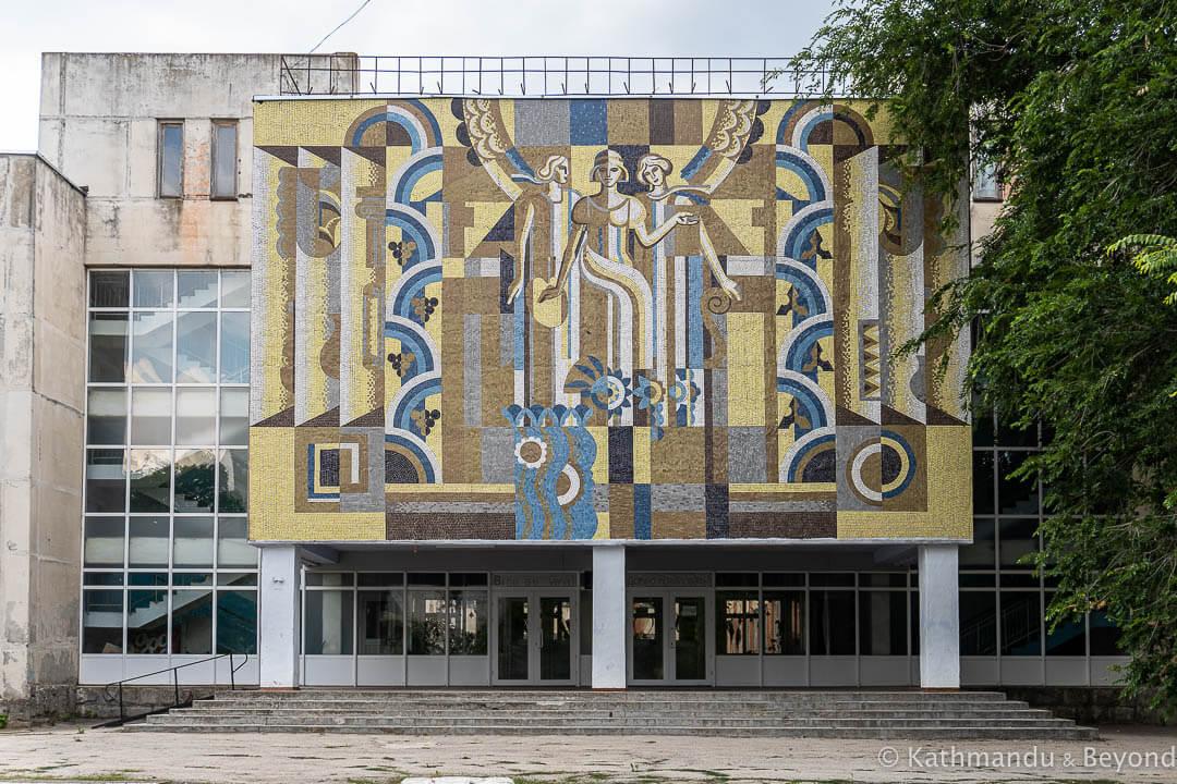 Theoretical High School Sergei Rahmaninov in Cahul, Moldova | Mosaic | Soviet artwork | former USSR