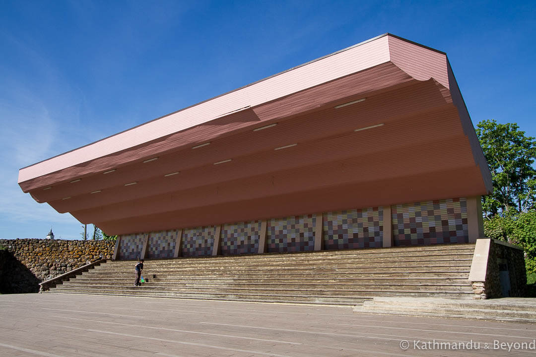 Mari Island Summer Theatre in Alūksne, Latvia | Modernist | Soviet architecture | former USSR