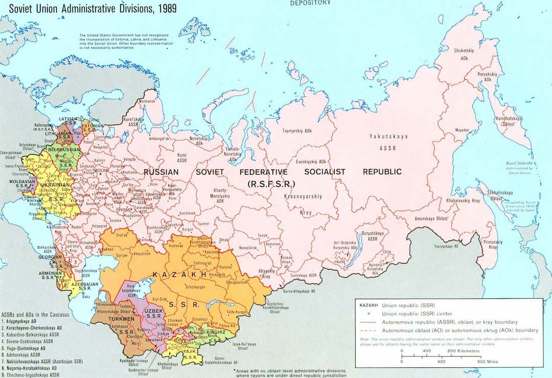 Map of Soviet Union Administrative Divisions in 1989