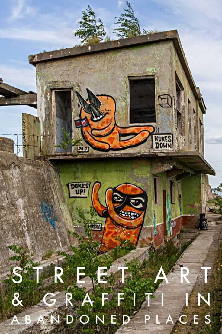 Street Art in Abandoned Buildings, a photo essay featuring urban art #urbex #streetart #graffiti #travel #abandonedsubmarinebase #estonia