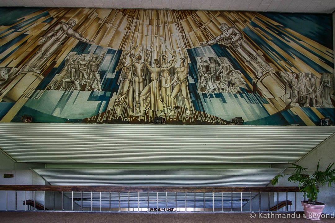 """Culture, Progress and Sport"" (Vilnius Palace of Culture, Entertainment and Sports) in Vilnius, Lithuania | Soviet artwork | former USSR"