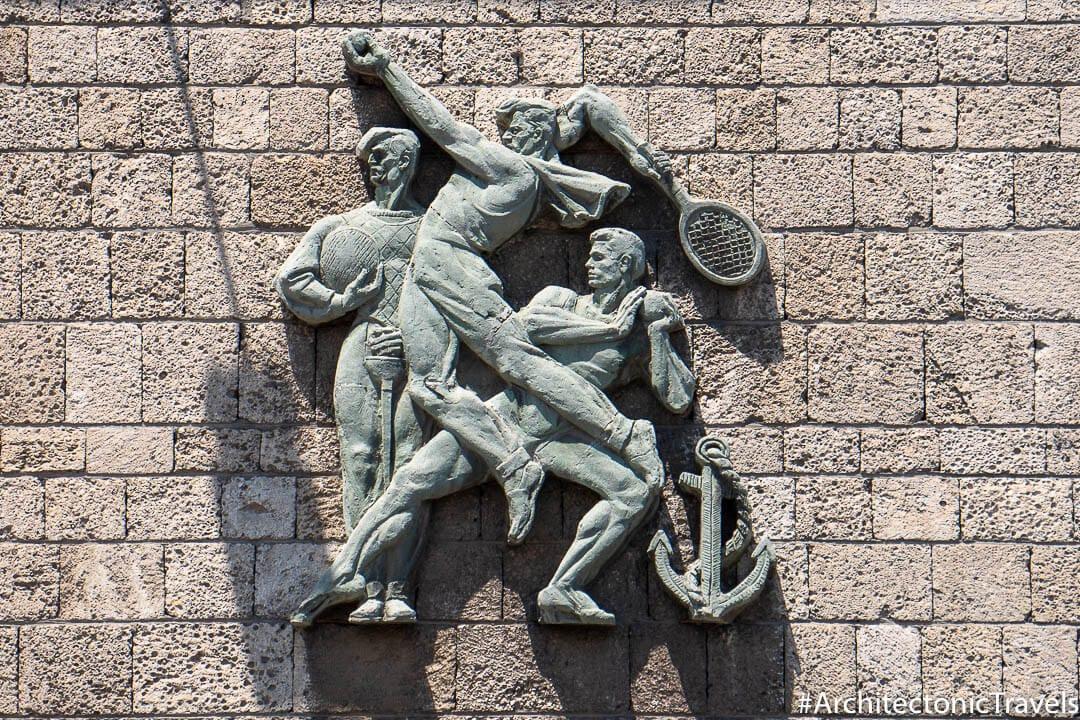 """Young Sportsmen"" (Sport Hall Arena)  in Constanţa, Romania | Socialist artwork | former Eastern Bloc"