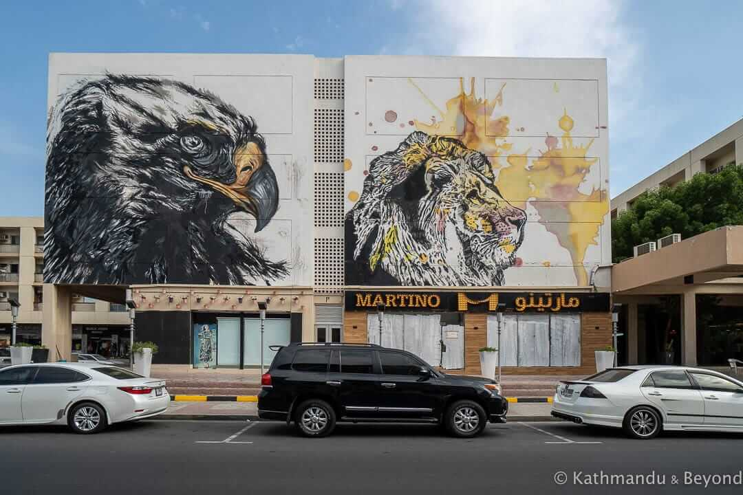 Falcon and Between The Lines by @yumzone_ and @katun_ Al Karama Street Art Dubai United Arab Emirates