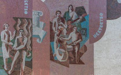 """""""Peace, Science, Labor, Creativity, Art"""", Mazda Centre"""