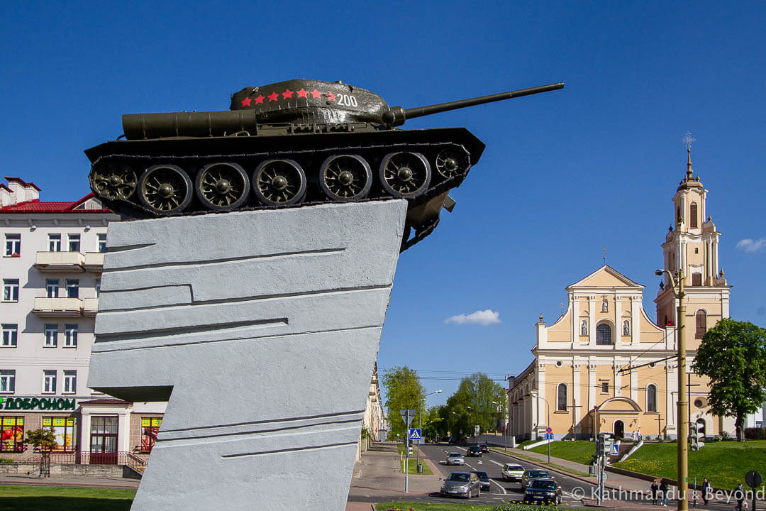 T-34 Tank Memorial (Monument in Honour of the Soldiers-Liberators) in Grodno (Hrodna), Belarus | War memorial | Soviet monument | former USSR