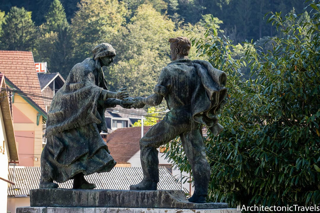 "Monument to the National Liberation War (""Woman donating bread to the partisans"") in Cerkno, Slovenia 