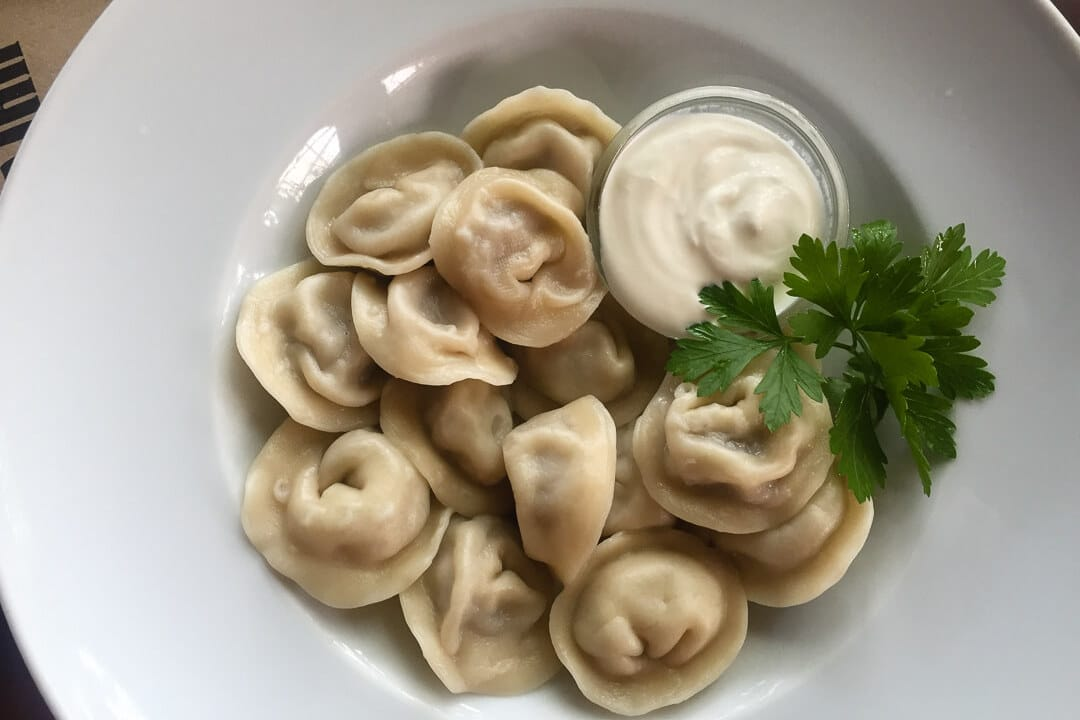 savoury varenyky or pierogi - typical food in Ukraine