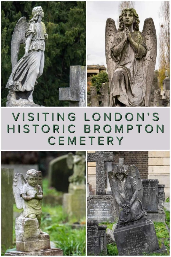 A photo essay and quick guide to Brompton Cemetery in Kensington. A historical graveyard that is one of London's Magnificent Seven Cemeteries #England #tombstone #graveyard #UK